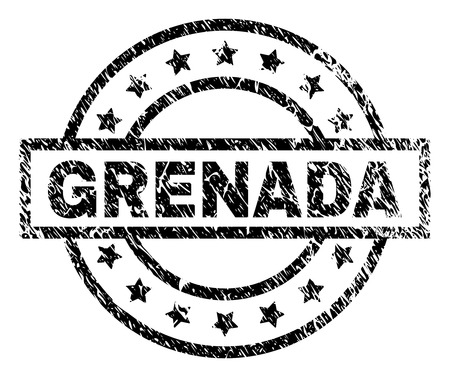 GRENADA stamp seal watermark with distress style. Designed with rectangle, circles and stars. Black vector rubber print of GRENADA tag with dirty texture. 일러스트