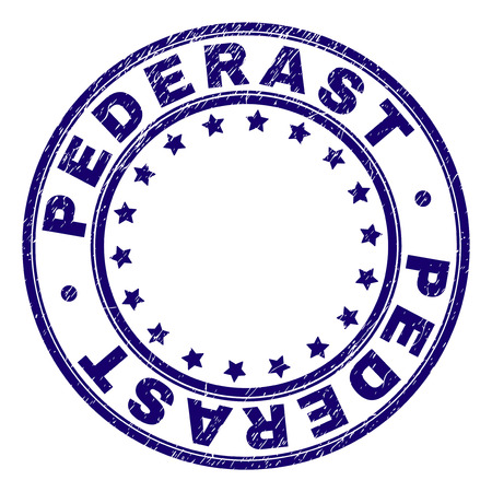 PEDERAST stamp seal watermark with grunge effect. Designed with round shapes and stars. Blue vector rubber print of PEDERAST caption with grunge texture.