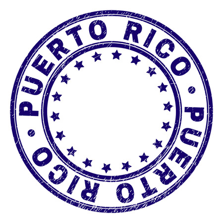 PUERTO RICO stamp seal watermark with grunge texture. Designed with round shapes and stars. Blue vector rubber print of PUERTO RICO label with grunge texture.