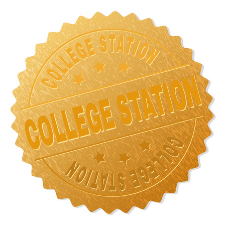 COLLEGE STATION gold stamp reward. Vector gold award with COLLEGE STATION text. Text labels are placed between parallel lines and on circle. Golden area has metallic texture.