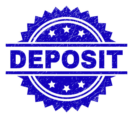 DEPOSIT stamp seal watermark with distress style. Blue vector rubber print of DEPOSIT tag with unclean texture.