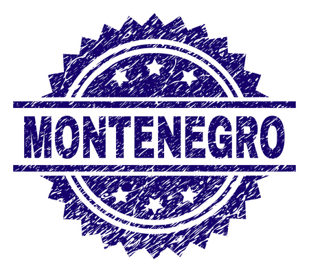 MONTENEGRO stamp seal watermark with distress style. Blue vector rubber print of MONTENEGRO caption with retro texture.