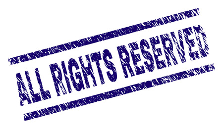 ALL RIGHTS RESERVED seal watermark with distress style. Blue vector rubber print of ALL RIGHTS RESERVED text with corroded texture. Text tag is placed between parallel lines.