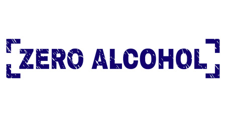 ZERO ALCOHOL text seal print with distress texture. Text tag is placed between corners. Blue vector rubber print of ZERO ALCOHOL with corroded texture.