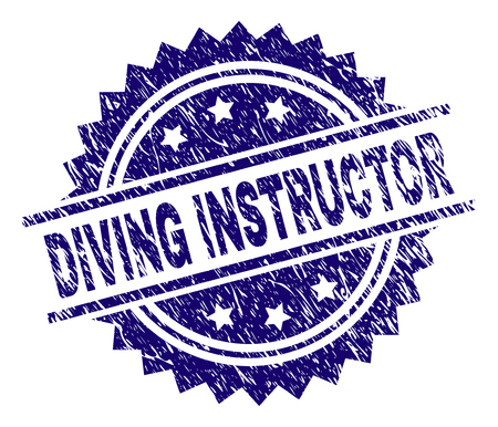 DIVING INSTRUCTOR stamp seal watermark with distress style. Blue vector rubber print of DIVING INSTRUCTOR title with dirty texture.