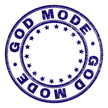 GOD MODE stamp seal imprint with grunge texture. Designed with round shapes and stars. Blue vector rubber print of GOD MODE caption with dust texture.