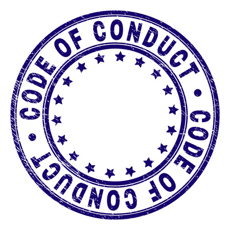 CODE OF CONDUCT stamp seal imprint with distress texture. Designed with circles and stars. Blue vector rubber print of CODE OF CONDUCT text with unclean texture.