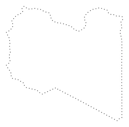 Vector stroke dotted Libya map in black color, small border points have diamond shape. Connect the path points and get Libya map. Educational geographic draft for Libya map quiz.