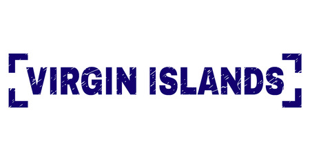 VIRGIN ISLANDS text seal print with distress texture. Text caption is placed between corners. Blue vector rubber print of VIRGIN ISLANDS with corroded texture. Illustration