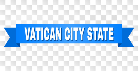 VATICAN CITY STATE text on a ribbon. Designed with white caption and blue stripe. Vector banner with VATICAN CITY STATE tag on a transparent background. 向量圖像
