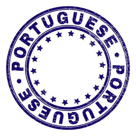 PORTUGUESE stamp seal watermark with grunge style. Designed with round shapes and stars. Blue vector rubber print of PORTUGUESE caption with grunge texture.