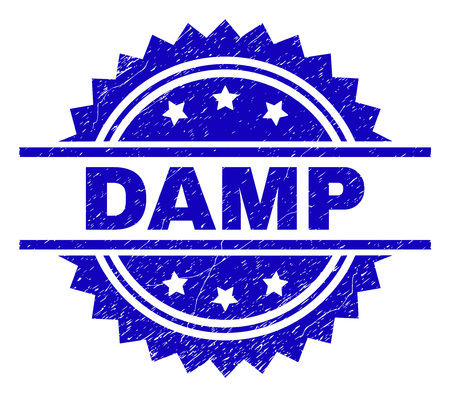 DAMP stamp seal watermark with distress style. Blue vector rubber print of DAMP title with dirty texture. 向量圖像