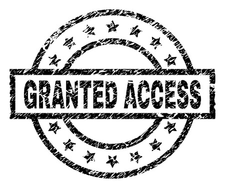 GRANTED ACCESS stamp seal watermark with distress style. Designed with rectangle, circles and stars. Black vector rubber print of GRANTED ACCESS tag with retro texture. 일러스트