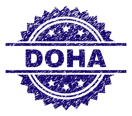 DOHA stamp seal watermark with distress style. Blue vector rubber print of DOHA title with dust texture. Illustration