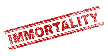 IMMORTALITY seal print with distress texture. Red vector rubber print of IMMORTALITY label with corroded texture. Text label is placed between double parallel lines. Illustration