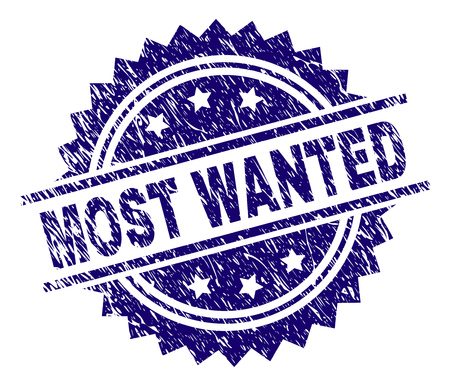MOST WANTED stamp seal watermark with distress style. Blue vector rubber print of MOST WANTED title with grunge texture.