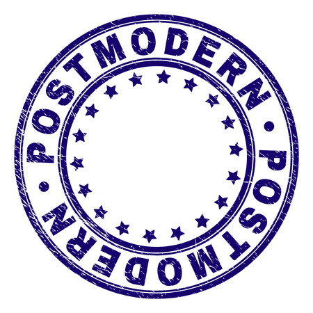 POSTMODERN stamp seal imprint with distress texture. Designed with circles and stars. Blue vector rubber print of POSTMODERN tag with grunge texture.