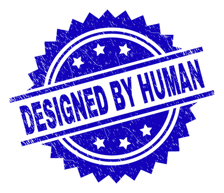 DESIGNED BY HUMAN stamp seal watermark with distress style. Blue vector rubber print of DESIGNED BY HUMAN label with scratched texture.