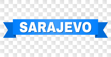 SARAJEVO text on a ribbon. Designed with white title and blue stripe. Vector banner with SARAJEVO tag on a transparent background.