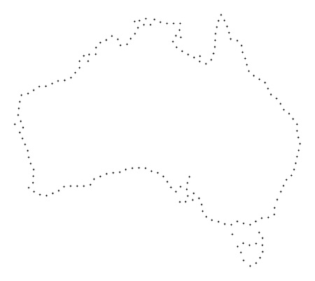 Vector stroke dotted Australia map in black color, small border points have diamond shape. Connect the path points and get Australia map. Educational geographic sketch for Australia map quiz.