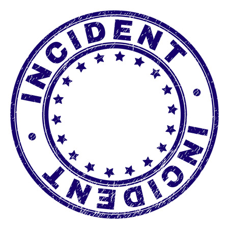 INCIDENT stamp seal watermark with grunge texture. Designed with round shapes and stars. Blue vector rubber print of INCIDENT caption with corroded texture.