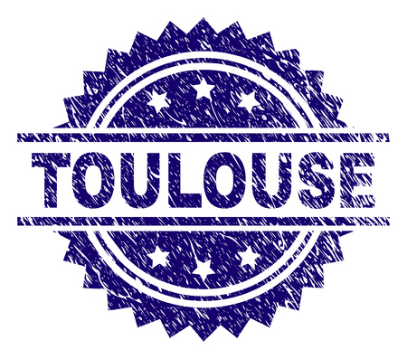 TOULOUSE stamp seal watermark with distress style. Blue vector rubber print of TOULOUSE label with retro texture. Ilustração