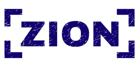 ZION label seal imprint with corroded texture. Text label is placed between corners. Blue vector rubber print of ZION with corroded texture.