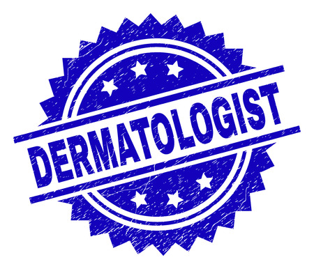 DERMATOLOGIST stamp seal watermark with distress style. Blue vector rubber print of DERMATOLOGIST caption with grunge texture.