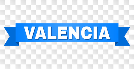 VALENCIA text on a ribbon. Designed with white caption and blue stripe. Vector banner with VALENCIA tag on a transparent background.