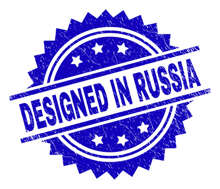 DESIGNED IN RUSSIA stamp seal watermark with distress style. Blue vector rubber print of DESIGNED IN RUSSIA tag with grunge texture. Illustration