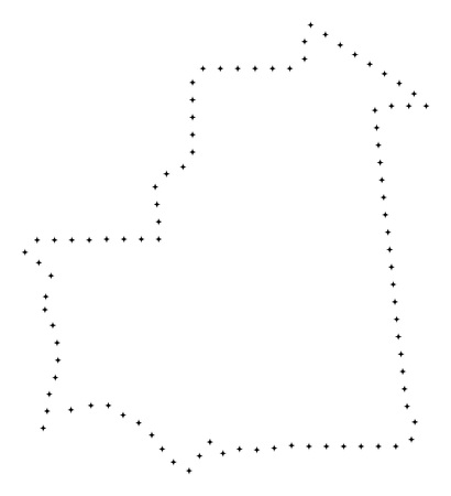 Vector stroke dot Mauritania map in black color, small border points have diamond shape. Track the frame points and get Mauritania map. Educational geographic template for Mauritania map quiz.