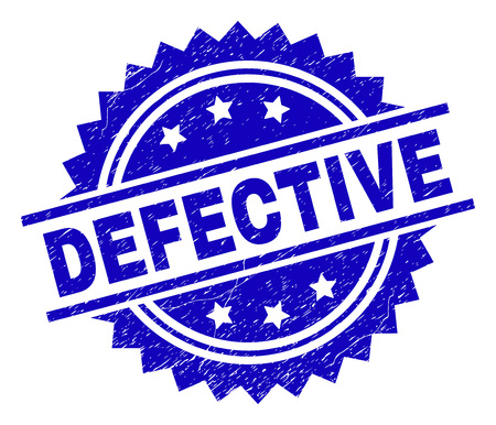 DEFECTIVE stamp seal watermark with distress style. Blue vector rubber print of DEFECTIVE tag with corroded texture.
