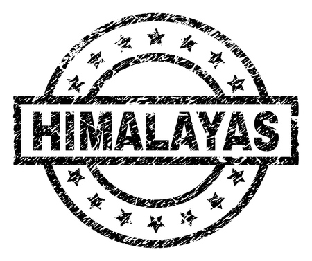 HIMALAYAS stamp seal watermark with distress style. Designed with rectangle, circles and stars. Black vector rubber print of HIMALAYAS caption with scratched texture. Illustration