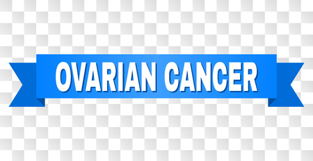 OVARIAN CANCER text on a ribbon. Designed with white title and blue stripe. Vector banner with OVARIAN CANCER tag on a transparent background.