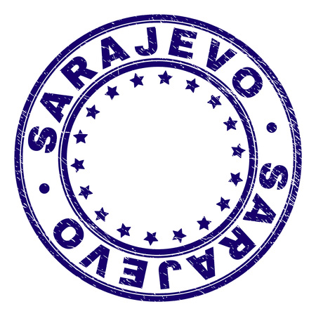 SARAJEVO stamp seal watermark with grunge texture. Designed with round shapes and stars. Blue vector rubber print of SARAJEVO title with scratched texture.