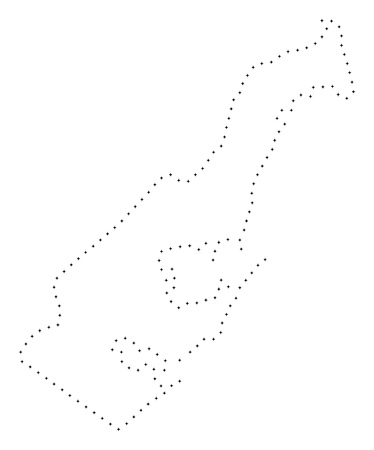 Vector stroke dotted Monaco map in black color, small border points have diamond shape. Discover the path points and get Monaco map. Educational geographic template for Monaco map quiz.