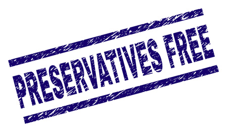 PRESERVATIVES FREE seal print with distress style. Blue vector rubber print of PRESERVATIVES FREE tag with retro texture. Text tag is placed between parallel lines.