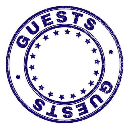 GUESTS stamp seal watermark with grunge texture. Designed with round shapes and stars. Blue vector rubber print of GUESTS title with unclean texture.