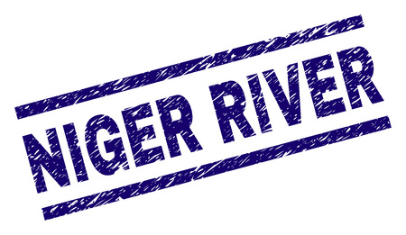 NIGER RIVER seal imprint with scratced style. Blue vector rubber print of NIGER RIVER text with dirty texture. Text label is placed between parallel lines. Foto de archivo - 127721447