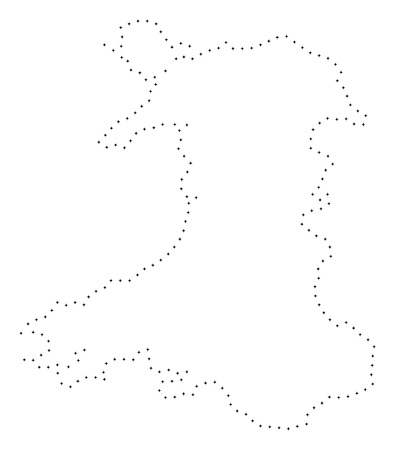 Vector stroke dot Wales map in black color, small border points have diamond shape. Discover the path points and get Wales map. Educational geographic draft for Wales map quiz.