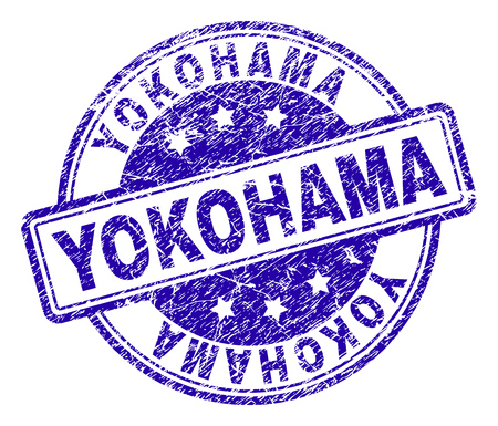 YOKOHAMA stamp seal imprint with grunge texture. Designed with rounded rectangles and circles. Blue vector rubber print of YOKOHAMA label with scratched texture. Illustration