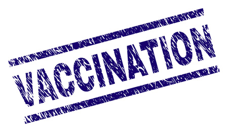 VACCINATION seal print with scratced style. Blue vector rubber print of VACCINATION label with grunge texture. Text label is placed between parallel lines. Ilustrace