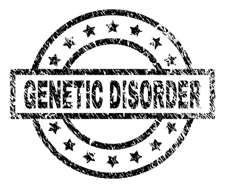GENETIC DISORDER stamp seal watermark with distress style. Designed with rectangle, circles and stars. Black vector rubber print of GENETIC DISORDER tag with grunge texture. Ilustrace