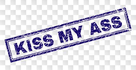 Impression de sceau de tampon KISS MY ASS avec un style d'impression en caoutchouc et une forme de rectangle à double cadre. Le timbre est placé sur un fond transparent. Vecteurs