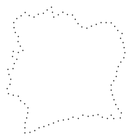 Vector stroke dotted Ivory Coast map in black color, small border points have diamond shape. Track the frame points and get Ivory Coast map. Educational geographic draft for Ivory Coast map quiz.