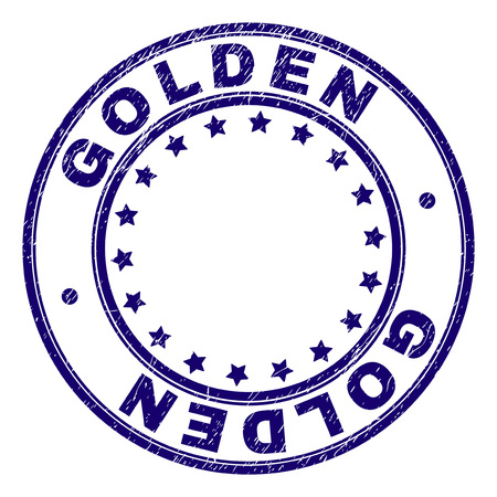 GOLDEN stamp seal imprint with grunge texture. Designed with circles and stars. Blue vector rubber print of GOLDEN title with dust texture.  イラスト・ベクター素材