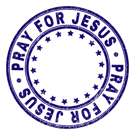 PRAY FOR JESUS stamp seal watermark with distress texture. Designed with circles and stars. Blue vector rubber print of PRAY FOR JESUS tag with retro texture.