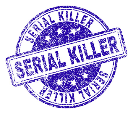 SERIAL KILLER stamp seal imprint with grunge texture. Designed with rounded rectangles and circles. Blue vector rubber print of SERIAL KILLER caption with unclean texture. Vectores