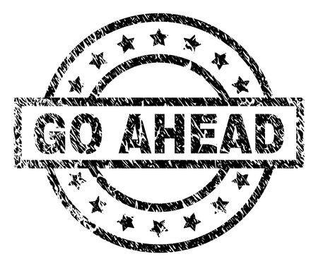 GO AHEAD stamp seal watermark with distress style. Designed with rectangle, circles and stars. Black vector rubber print of GO AHEAD label with retro texture. Vetores