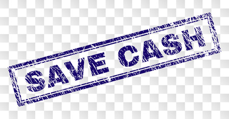 SAVE CASH stamp seal imprint with dirty style and double framed rectangle shape. Stamp is placed on a transparent background. Blue vector rubber print of SAVE CASH label with dirty texture.